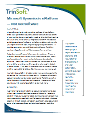 Microsoft Dynamics is a Platform - Not Just Software