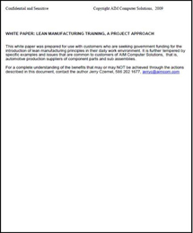 White Paper:  Lean Manufacturing Training, A Project Approach