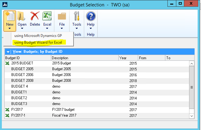 excel budgets