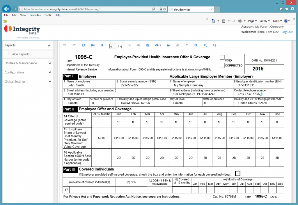IRS Form 1095-C_Integrity Data ACA Compliance Solution