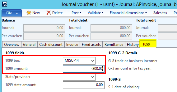 Dynamics AX 1099 Vendor Invoice Amount