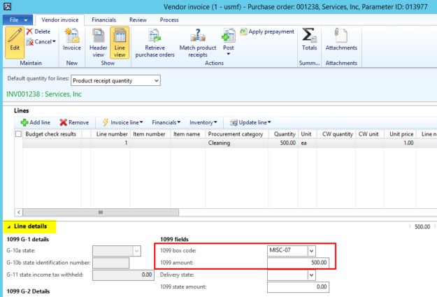 Dynamics AX 1099 Purchase Order