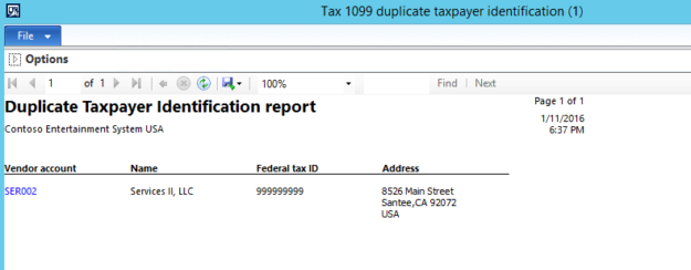Dynamics AX 1099 Duplicate Taxpayer Identification Report