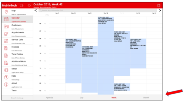 calendar view in mobiletech new feature in KEY2ACT