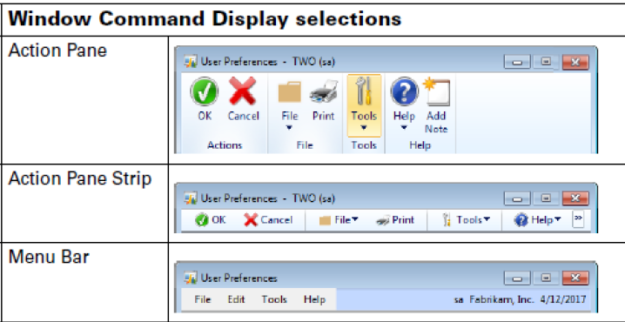 Different menu views available in Microsoft Dynamics GP
