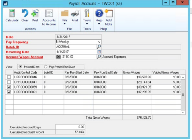 spreading out payroll in Advanced Payroll for Dynamics GP