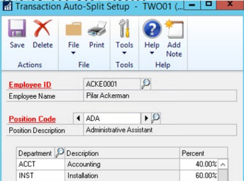 transaction auto split setup in dynamics gp