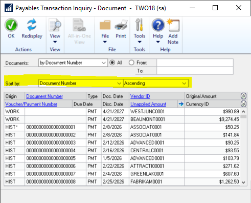 sort feature in Payables transaction inquiry window in Microsoft Dynamics GP