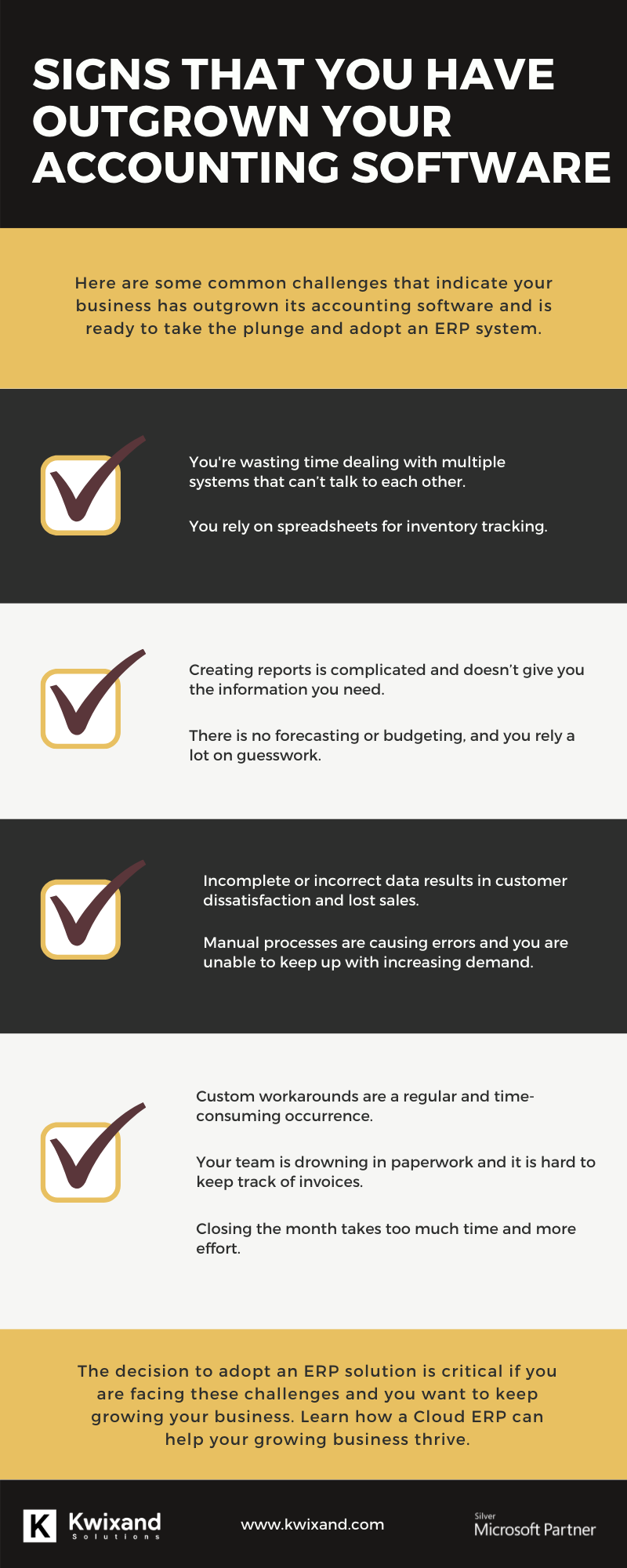 Infographic showcasing the signs that your business is outgrowing its accounting software