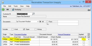 GP Receivables Transaction Unapply