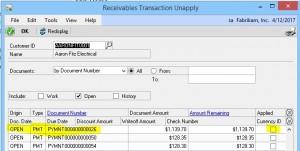 GP Receivables Transaction Unapply