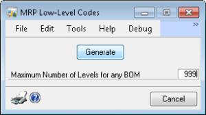 BOM level in Microsoft Dynamics GP