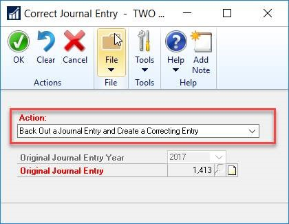 Dynamics GP Back out journal entries