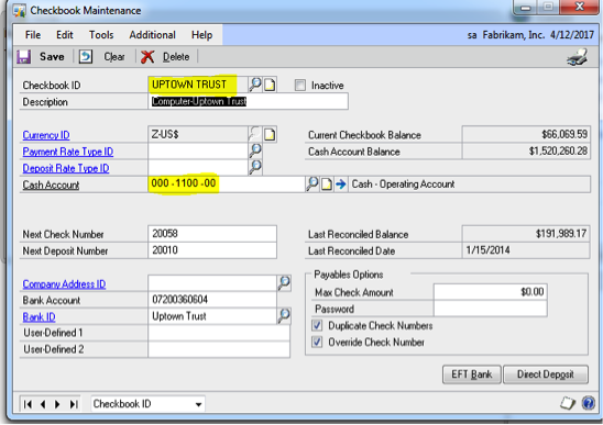 bank statement reconciliation in ms dynamics gp checkbook vs