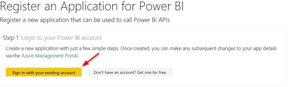 Register an Application for Power BI