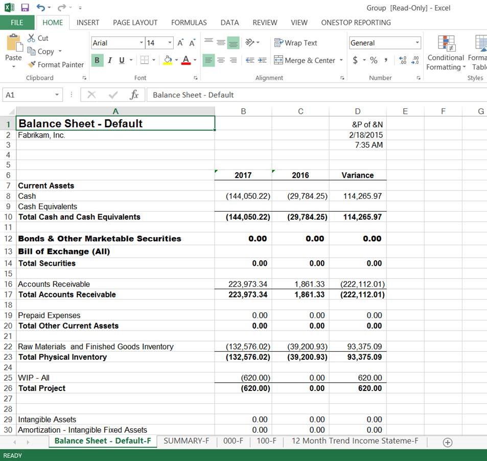 Excel workbook multi-tab report MS Management Reporter