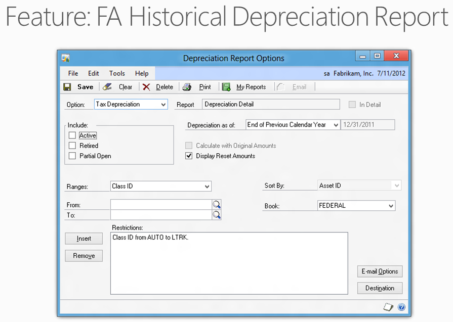 microsoft dynamics gp 2013 new feature fixed asset historical
