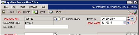 Transaction entry window
