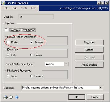 Default print destination in Dynamics G