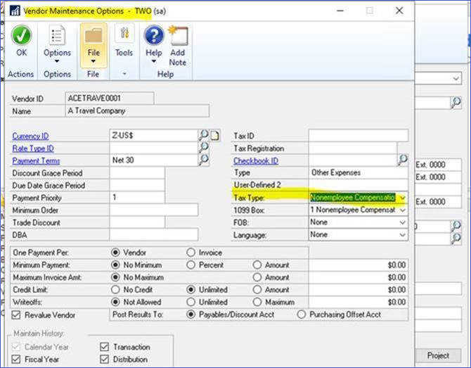 Dynamics GP Update on 1099