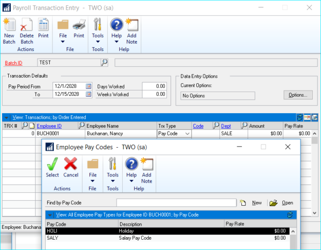 Dynamics GP Payroll Start and End