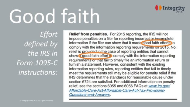 Good faith definition in IRS Form 1095-C instructions_Integrity Data