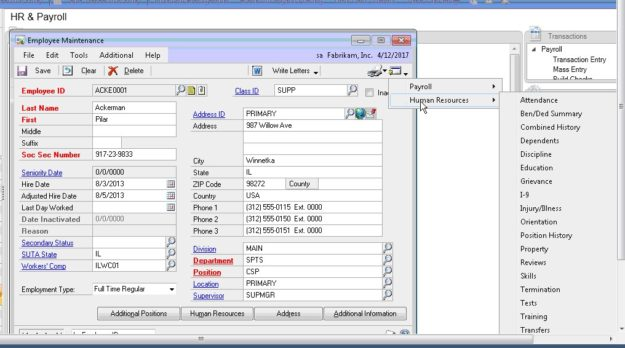 Human resources functionality software