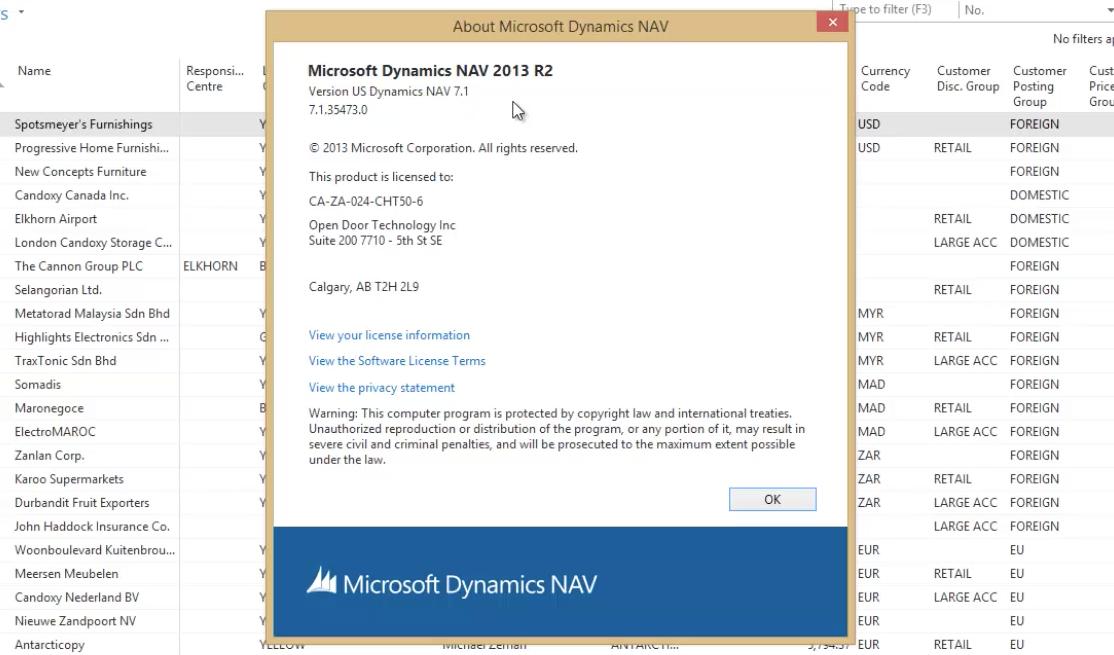 Help Menu Microsoft Dynamics NAV Open Door Technology 2
