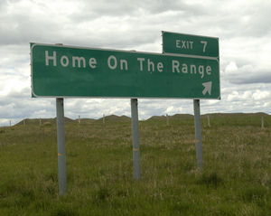 A sign points to Home on the Range in Western North Dakota where Microsoft Dynamics GP has been used for 20 years.