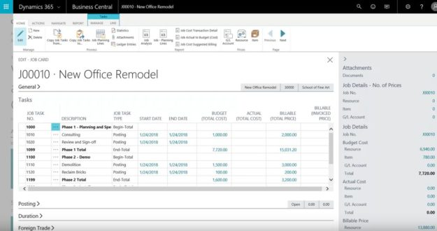 Jobs and Project Accounting in Dynamics 365