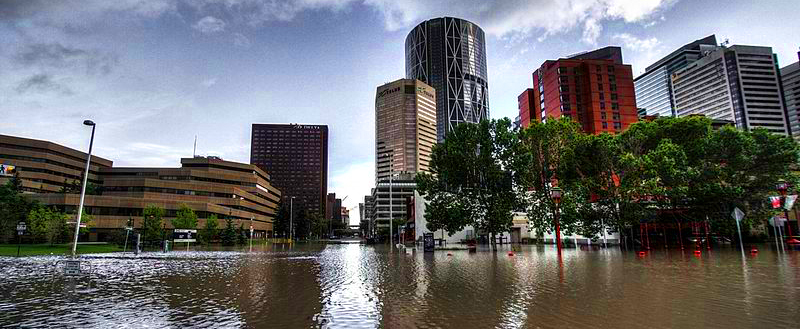 View of flood in downtown Calgary