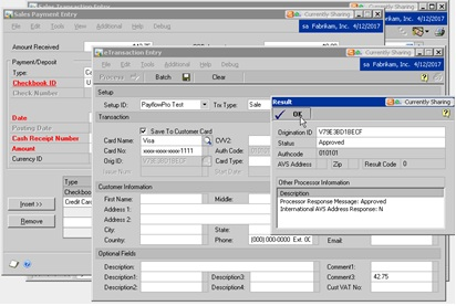 Nodus CCA eTransaction within Sale Processing in Dynamics GP