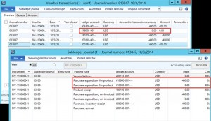 Vendor Invoice Voucher transactions and Subledger journal: