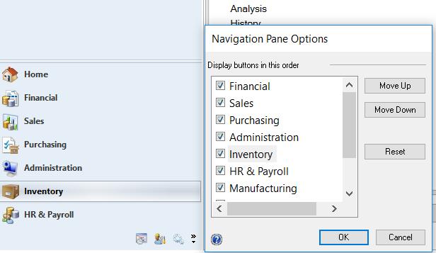 1. Expand the Navigation Pane Options window