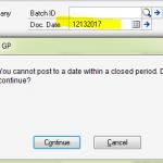 Dynamics GP Document Date Verify