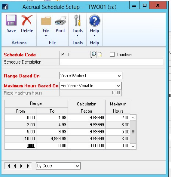 PTO Manager accrual set up