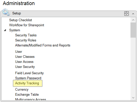 Microsoft Dynamics GP screenshot activity tracking