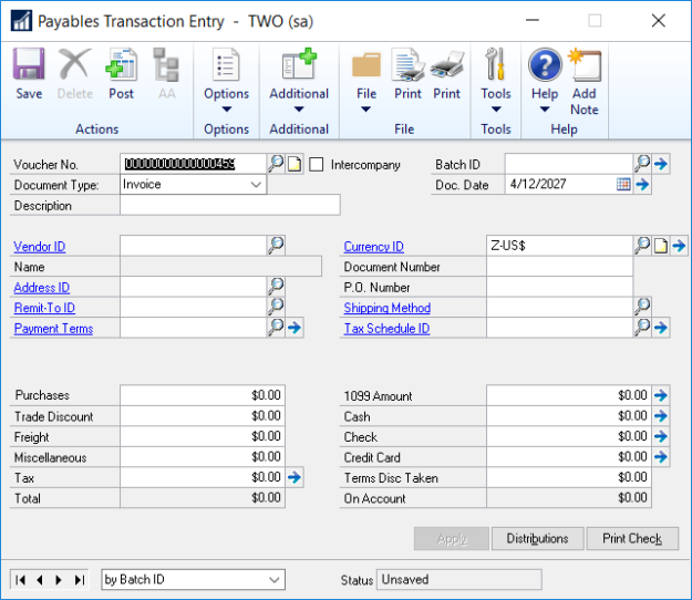 payables transaction entry in microsoft dynamics gp