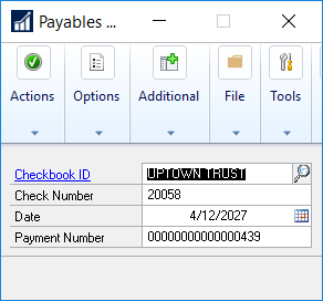 payables transaction entry window in microsoft dynamics gp