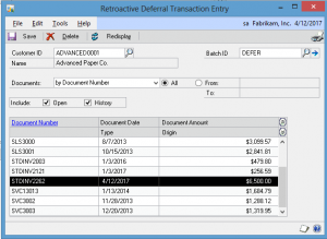 Retroactive Deferral Transaction Entry