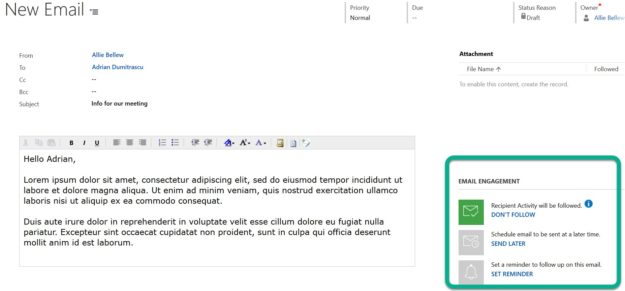Email Engagement Insights - Microsoft Dynamics 365