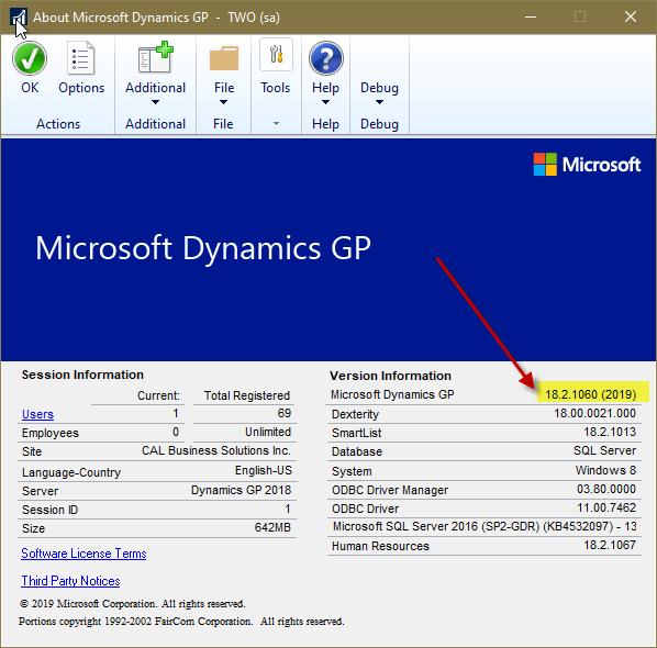 """Choose the """"About Microsoft Dynamics GP"""" dropdown"""