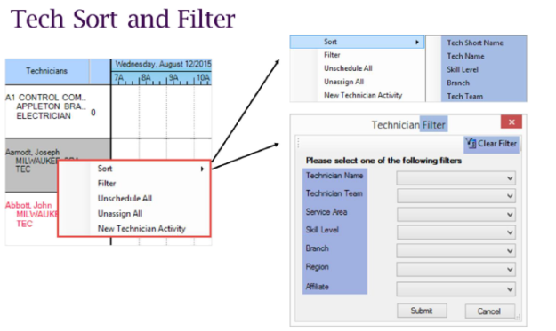 Key2Act Graphical Schedule Board Tech Sort and Filter
