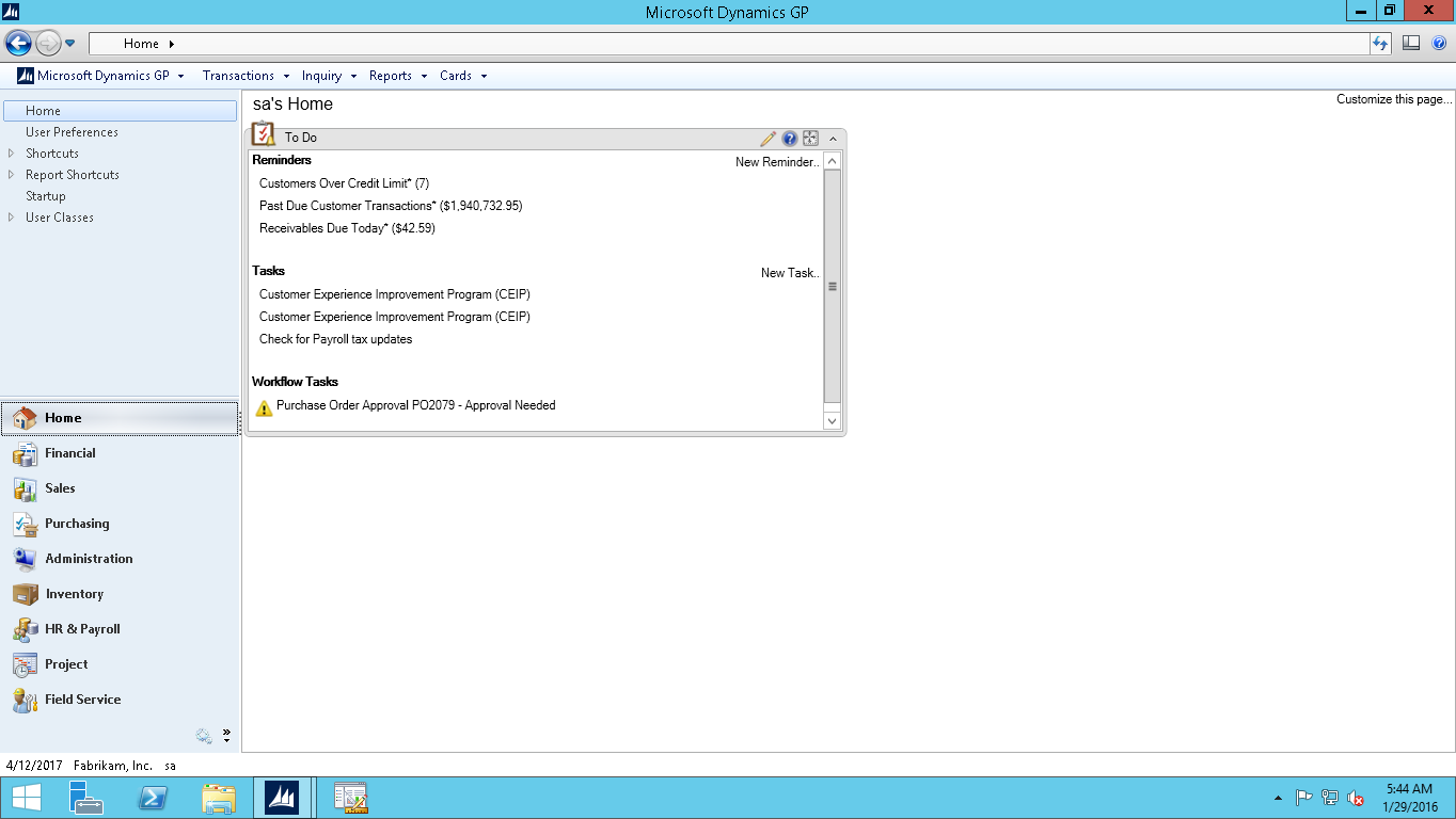 Dynamics GP Workflow notification screenshot