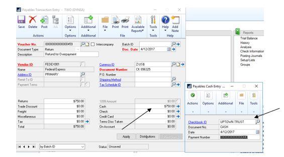 Purchasing>Transactions>Transaction Entry - Cash