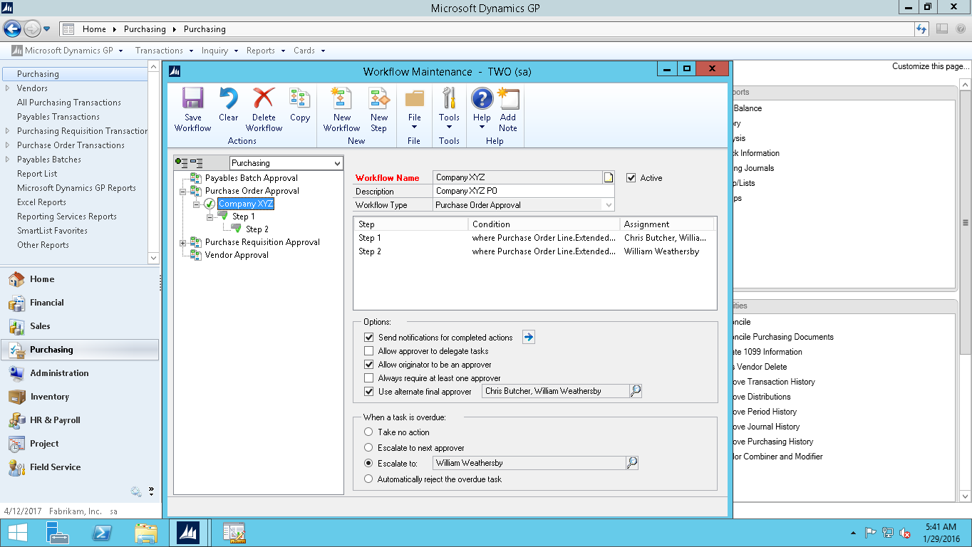 Dynamics GP Workflow setup screenshot
