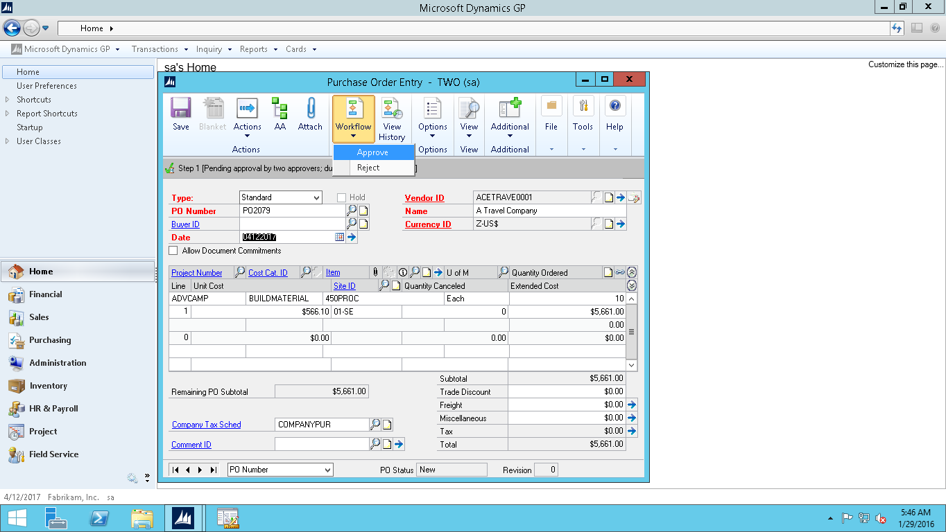 Dynamics GP Workflow approval screenshot