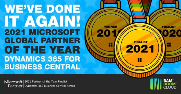 Bam Boom Cloud Microsoft Partner of the Year Finalist for Dynamics 365 Business Central