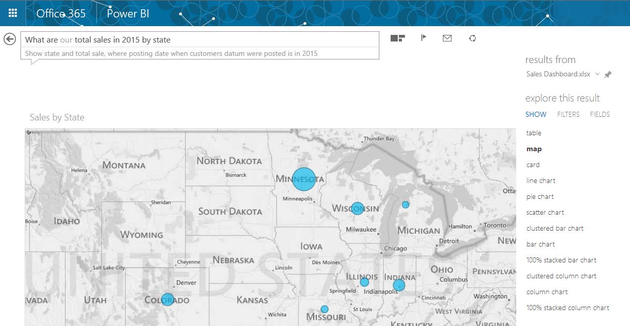 Power BI Q&A Map