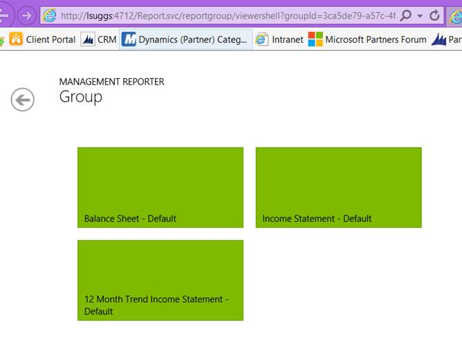 MS Management Reporter screenshot report group